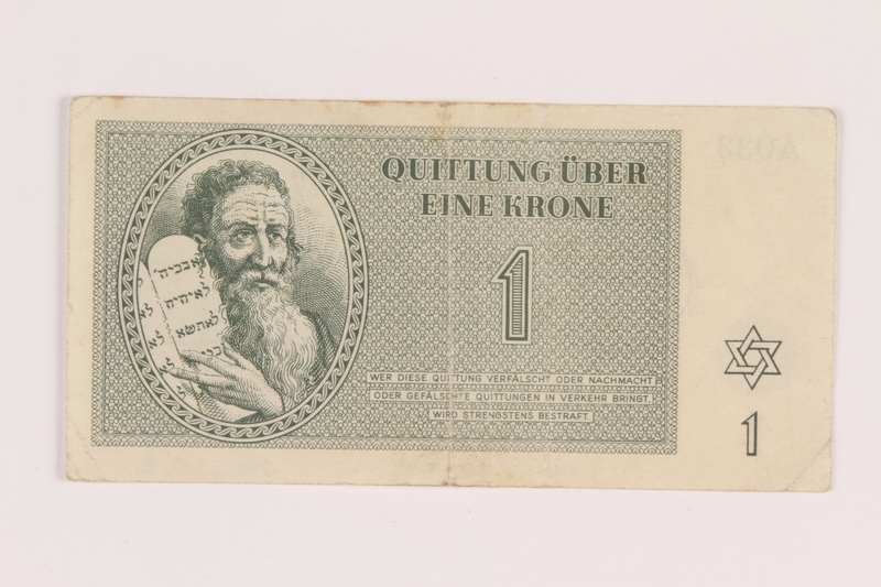 2005.517.8 front Theresienstadt ghetto-labor camp scrip, 1 krone note