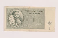 2005.517.8 front Theresienstadt ghetto-labor camp scrip, 1 krone note  Click to enlarge