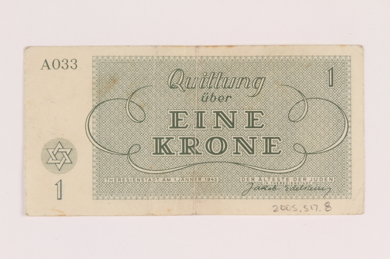 2005.517.8 back Theresienstadt ghetto-labor camp scrip, 1 krone note