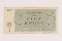 2005.517.8 back Theresienstadt ghetto-labor camp scrip, 1 krone note  Click to enlarge