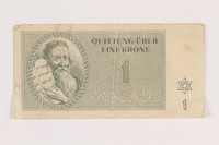 2005.517.9 front Theresienstadt ghetto-labor camp scrip, 1 krone note  Click to enlarge