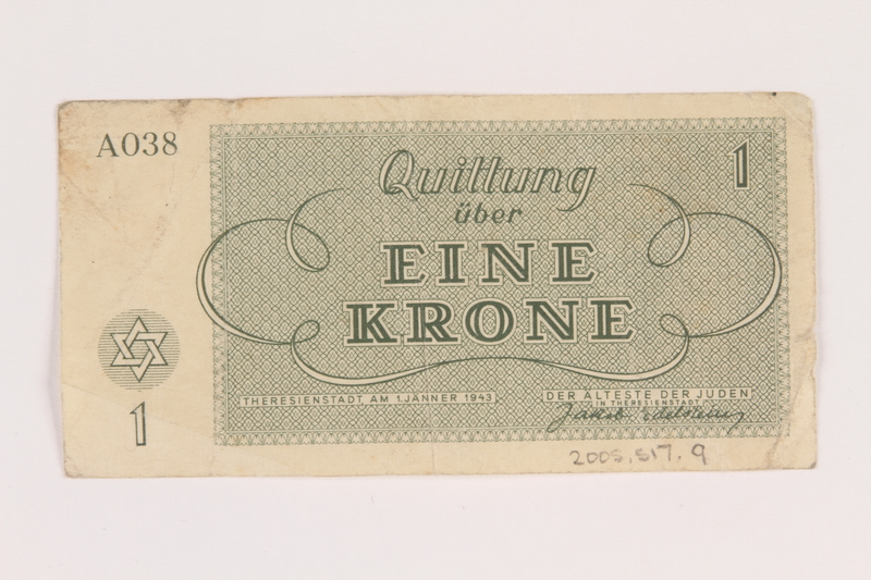 2005.517.9 back Theresienstadt ghetto-labor camp scrip, 1 krone note