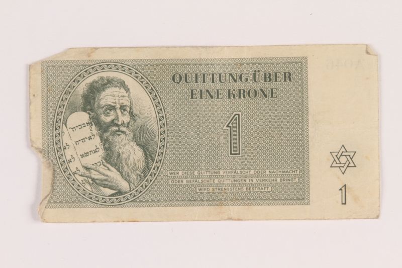 2005.517.10 front Theresienstadt ghetto-labor camp scrip, 1 krone note