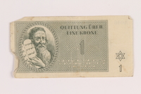 2005.517.10 front Theresienstadt ghetto-labor camp scrip, 1 krone note  Click to enlarge