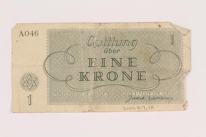2005.517.10 back Theresienstadt ghetto-labor camp scrip, 1 krone note