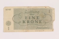 2005.517.10 back Theresienstadt ghetto-labor camp scrip, 1 krone note  Click to enlarge
