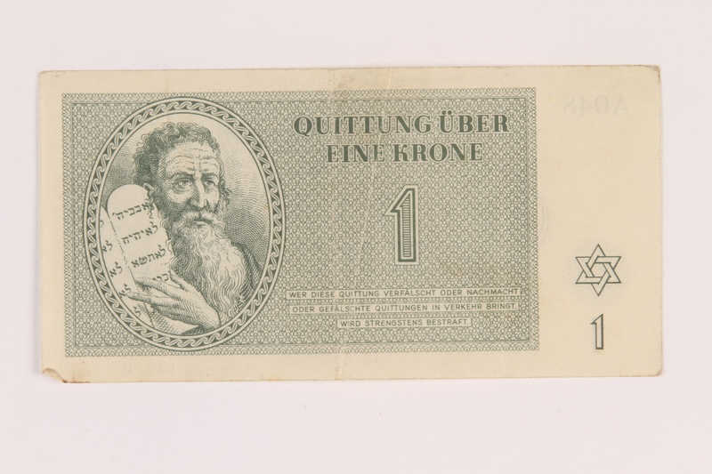 2005.517.11 front Theresienstadt ghetto-labor camp scrip, 1 krone note