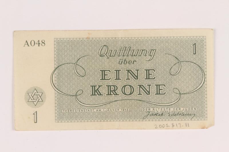 2005.517.11 back Theresienstadt ghetto-labor camp scrip, 1 krone note