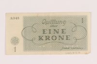 2005.517.11 back Theresienstadt ghetto-labor camp scrip, 1 krone note  Click to enlarge