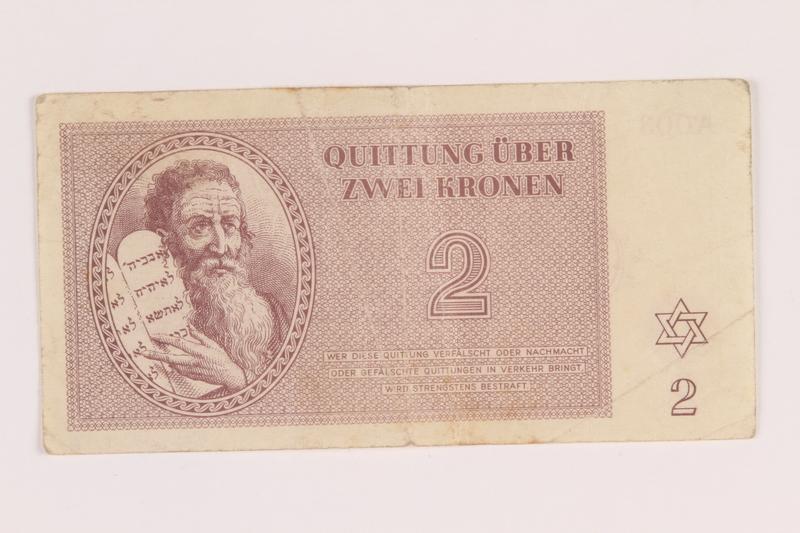 2005.517.12 front Theresienstadt ghetto-labor camp scrip, 2 kronen note