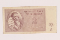 2005.517.12 front Theresienstadt ghetto-labor camp scrip, 2 kronen note  Click to enlarge