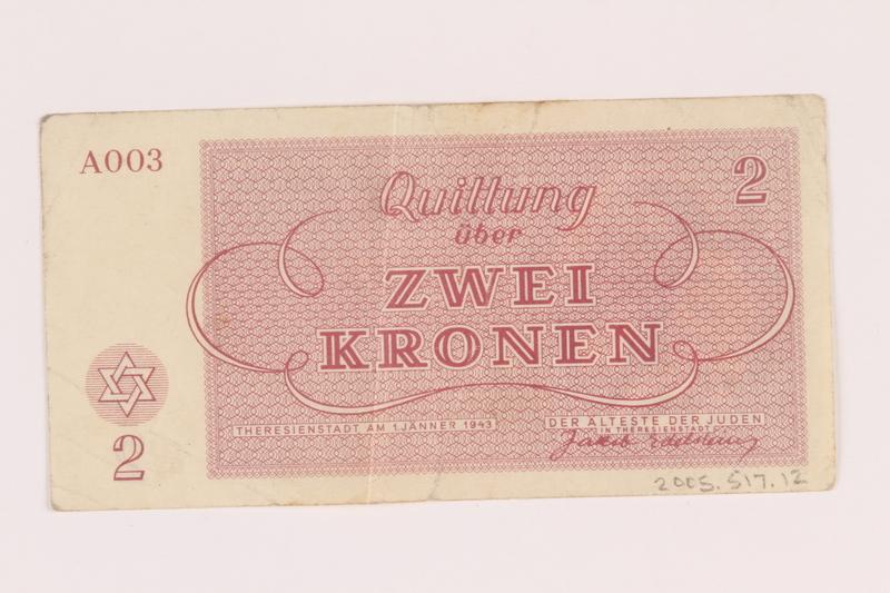 2005.517.12 back Theresienstadt ghetto-labor camp scrip, 2 kronen note