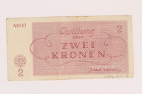 2005.517.12 back Theresienstadt ghetto-labor camp scrip, 2 kronen note  Click to enlarge