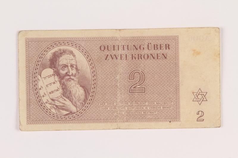 2005.517.13 front Theresienstadt ghetto-labor camp scrip, 2 kronen note