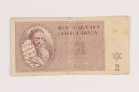 2005.517.13 front Theresienstadt ghetto-labor camp scrip, 2 kronen note  Click to enlarge