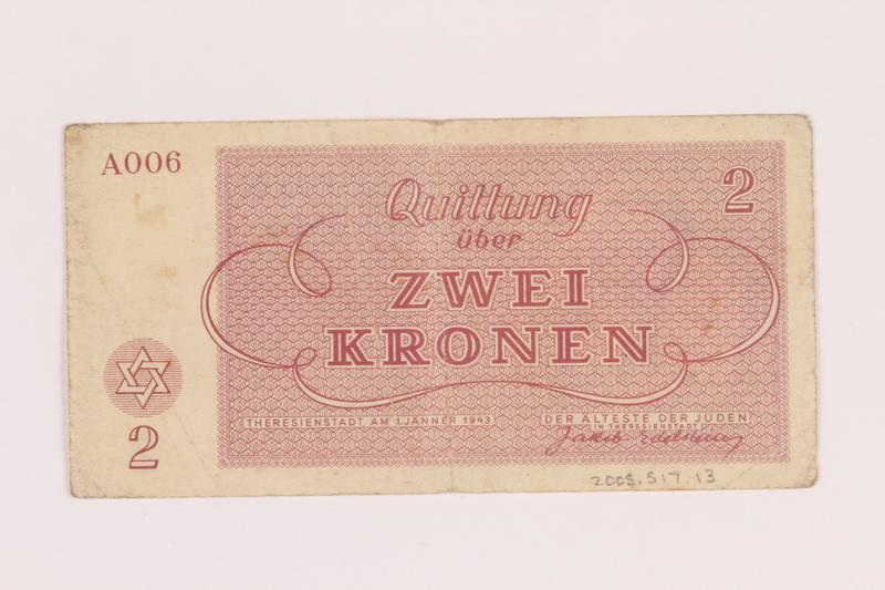 2005.517.13 back Theresienstadt ghetto-labor camp scrip, 2 kronen note