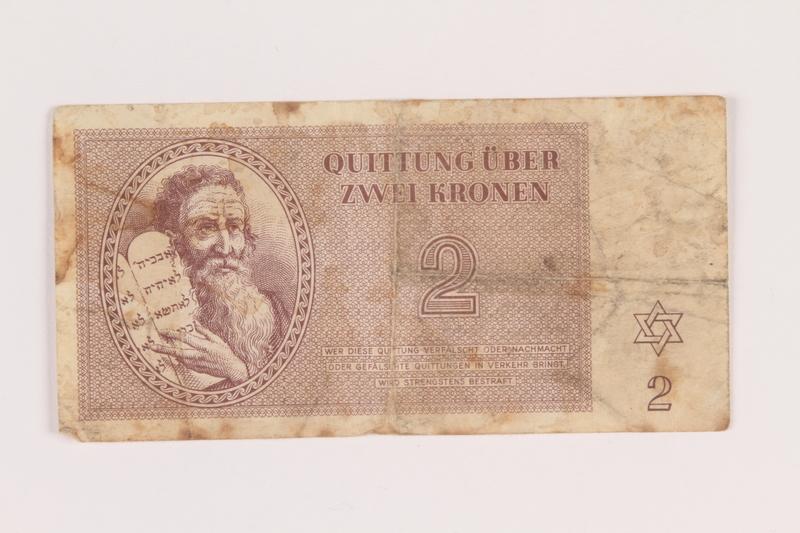 2005.517.14 front Theresienstadt ghetto-labor camp scrip, 2 kronen note
