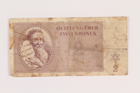 2005.517.14 front Theresienstadt ghetto-labor camp scrip, 2 kronen note  Click to enlarge