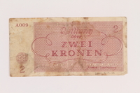 2005.517.14 back Theresienstadt ghetto-labor camp scrip, 2 kronen note  Click to enlarge