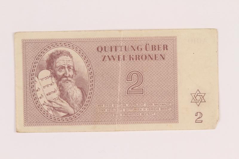 2005.517.15 front Theresienstadt ghetto-labor camp scrip, 2 kronen note