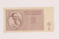 2005.517.15 front Theresienstadt ghetto-labor camp scrip, 2 kronen note  Click to enlarge