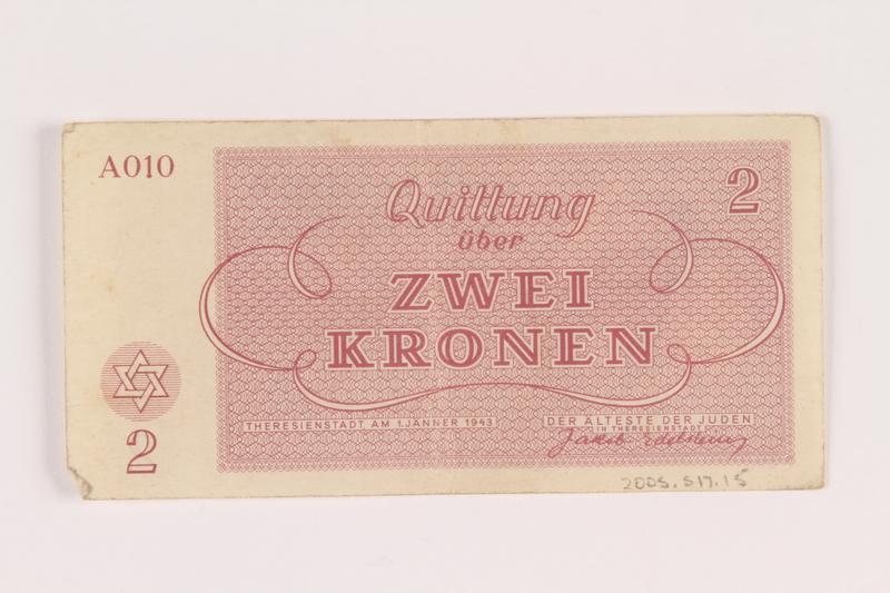 2005.517.15 back Theresienstadt ghetto-labor camp scrip, 2 kronen note