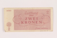 2005.517.15 back Theresienstadt ghetto-labor camp scrip, 2 kronen note  Click to enlarge