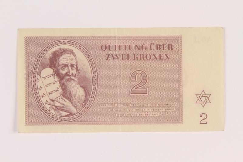 2005.517.16 front Theresienstadt ghetto-labor camp scrip, 2 kronen note
