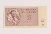 2005.517.16 front Theresienstadt ghetto-labor camp scrip, 2 kronen note  Click to enlarge