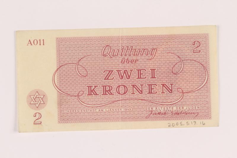 2005.517.16 back Theresienstadt ghetto-labor camp scrip, 2 kronen note