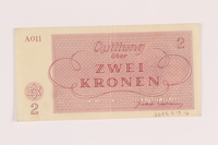 2005.517.16 back Theresienstadt ghetto-labor camp scrip, 2 kronen note  Click to enlarge