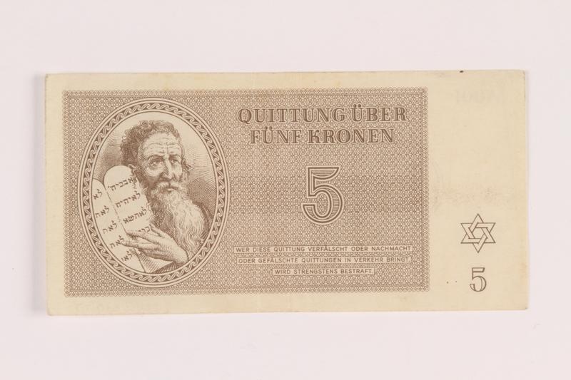 2005.517.17 front Theresienstadt ghetto-labor camp scrip, 5 kronen note