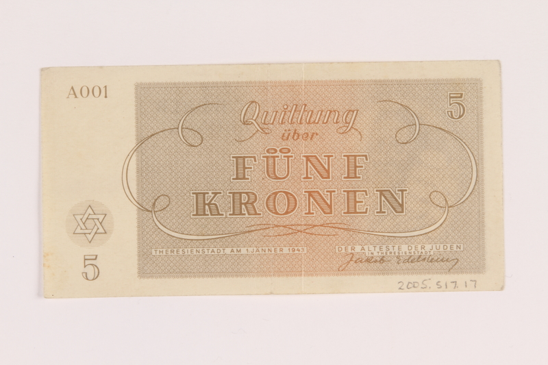 2005.517.17 back Theresienstadt ghetto-labor camp scrip, 5 kronen note