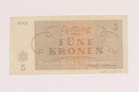 2005.517.17 back Theresienstadt ghetto-labor camp scrip, 5 kronen note  Click to enlarge