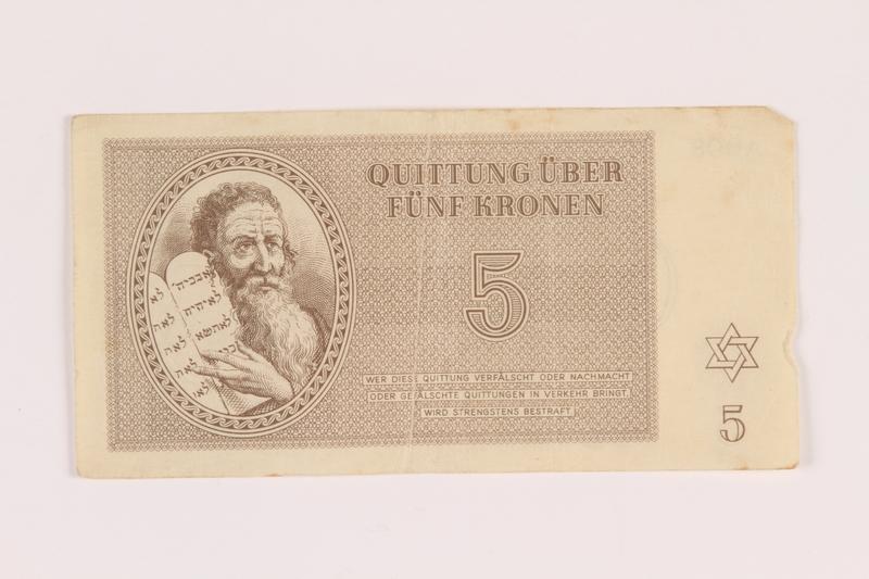 2005.517.18 front Theresienstadt ghetto-labor camp scrip, 5 kronen note