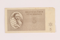 2005.517.18 front Theresienstadt ghetto-labor camp scrip, 5 kronen note  Click to enlarge