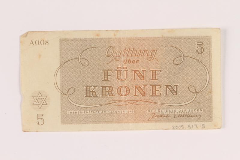 2005.517.18 back Theresienstadt ghetto-labor camp scrip, 5 kronen note