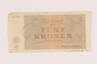2005.517.18 back Theresienstadt ghetto-labor camp scrip, 5 kronen note  Click to enlarge