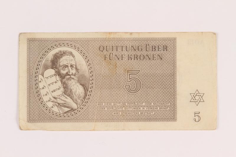 2005.517.19 front Theresienstadt ghetto-labor camp scrip, 5 kronen note