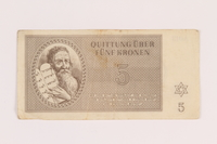 2005.517.19 front Theresienstadt ghetto-labor camp scrip, 5 kronen note  Click to enlarge