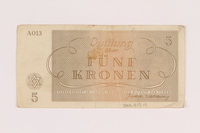 2005.517.19 back Theresienstadt ghetto-labor camp scrip, 5 kronen note  Click to enlarge