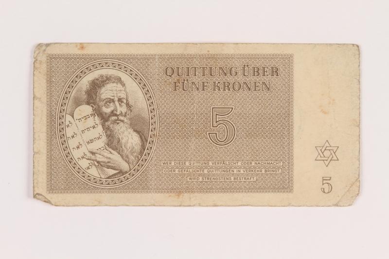 2005.517.20 front Theresienstadt ghetto-labor camp scrip, 5 kronen note
