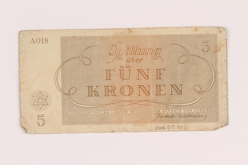 2005.517.20 back Theresienstadt ghetto-labor camp scrip, 5 kronen note