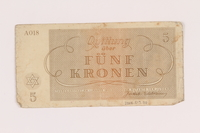 2005.517.20 back Theresienstadt ghetto-labor camp scrip, 5 kronen note  Click to enlarge