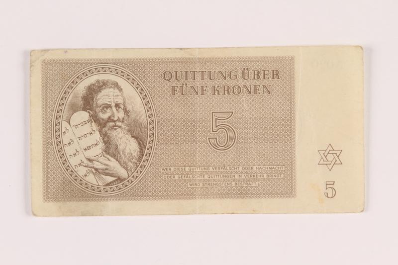 2005.517.21 front Theresienstadt ghetto-labor camp scrip, 5 kronen note