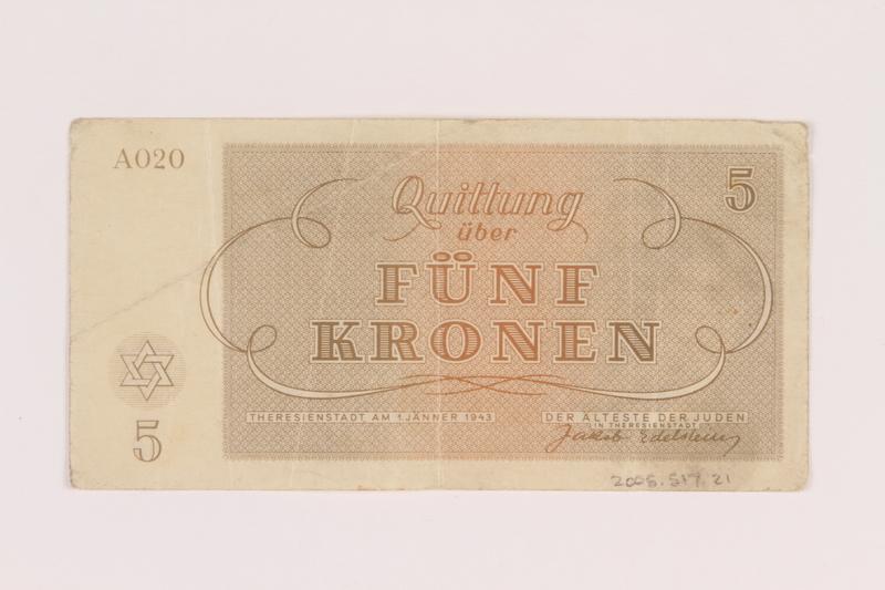 2005.517.21 back Theresienstadt ghetto-labor camp scrip, 5 kronen note