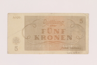 2005.517.21 back Theresienstadt ghetto-labor camp scrip, 5 kronen note  Click to enlarge