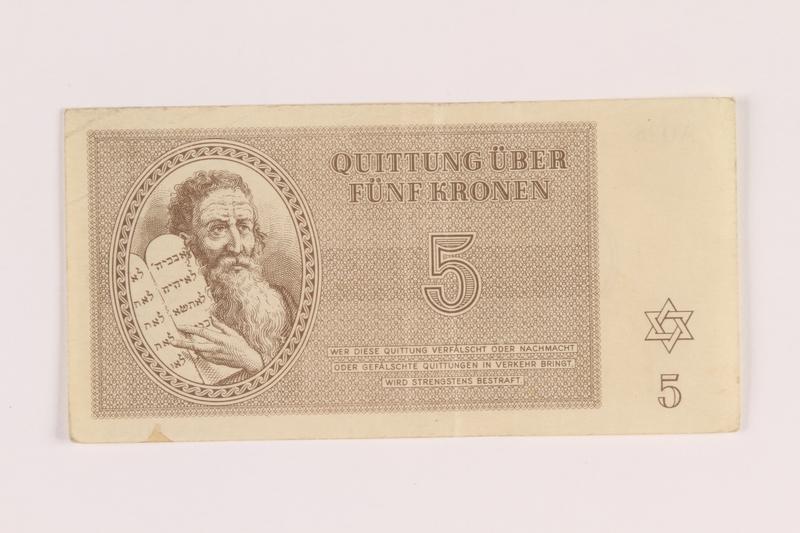2005.517.22 front Theresienstadt ghetto-labor camp scrip, 5 kronen note