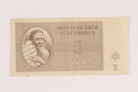 2005.517.22 front Theresienstadt ghetto-labor camp scrip, 5 kronen note  Click to enlarge
