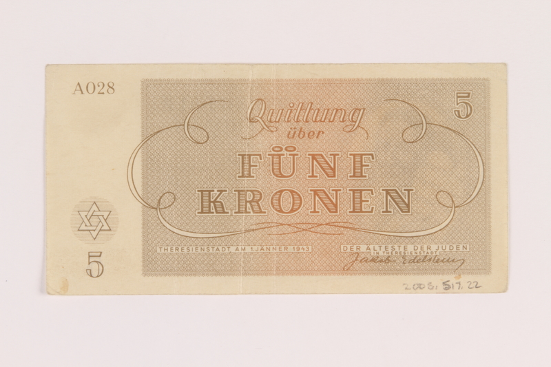 2005.517.22 back Theresienstadt ghetto-labor camp scrip, 5 kronen note